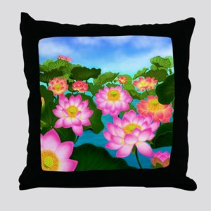 Pink Lotus Garden Flowers Throw Pillow