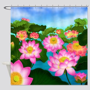 Pink Lotus Garden Flowers Shower Curtain