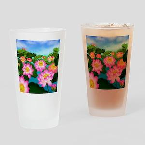 Pink Lotus Garden Flowers Drinking Glass