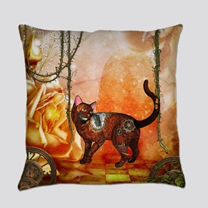 Steampunk, funny steampunk cat Everyday Pillow