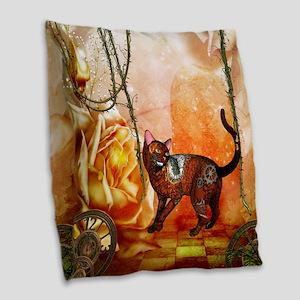 Steampunk, funny steampunk cat Burlap Throw Pillow