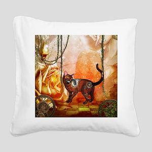 Steampunk, funny steampunk cat Square Canvas Pillo