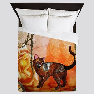 Steampunk, funny steampunk cat Queen Duvet