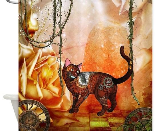 Steampunk Funny Steampunk Cat Shower Curtain