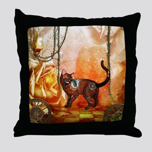 Steampunk, funny steampunk cat Throw Pillow