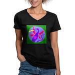 dragon Women's V-Neck Dark T-Shirt