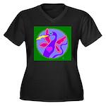 dragon Women's Plus Size V-Neck Dark T-Shirt