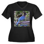 Steller's Jay Women's Plus Size V-Neck Dark T-Shir