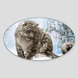 Wonderful snowleopard, winter landscape Sticker