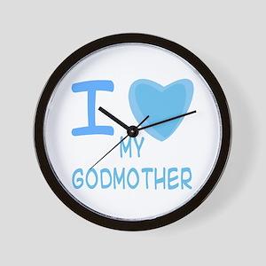 Blue I Heart (Love) My Godmother Wall Clock