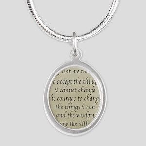 Serenity Prayer-Vintage Silver Oval Necklace