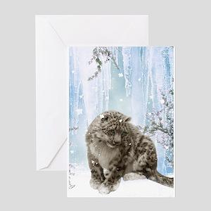 Wonderful snowleopard, winter landscape Greeting C