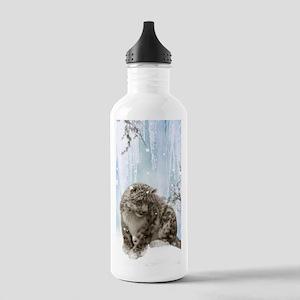 Wonderful snowleopard, winter landscape Water Bott