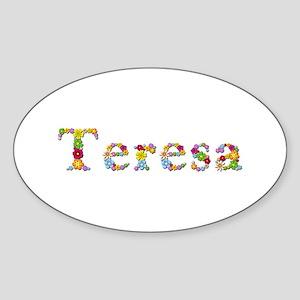 Teresa Bright Flowers Oval Sticker