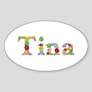 Tina Bright Flowers Oval Sticker
