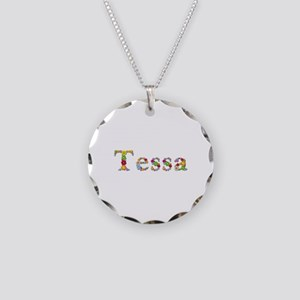 Tessa Bright Flowers Necklace Circle Charm
