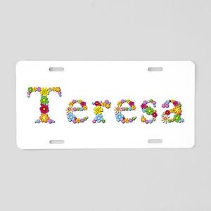 Teresa Bright Flowers Aluminum License Plate