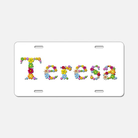 Teresa Bright Flowers Aluminum License Plate