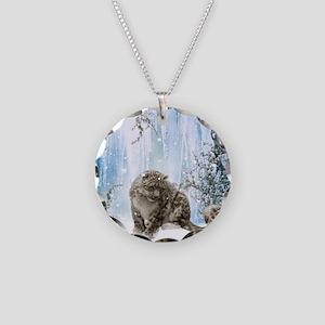 Wonderful snowleopard, winter landscape Necklace
