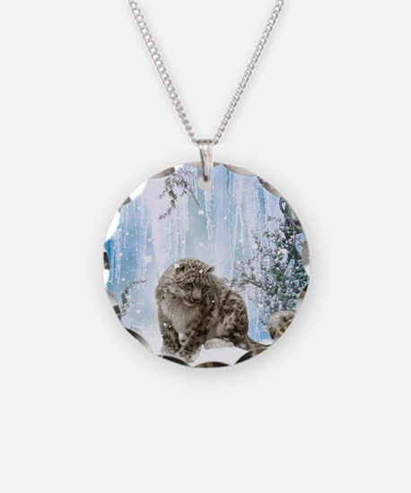 Wonderful snowleopard, winter landscape Necklace