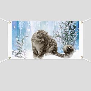 Wonderful snowleopard, winter landscape Banner