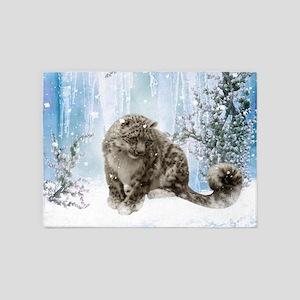 Wonderful snowleopard, winter landscape 5'x7'Area