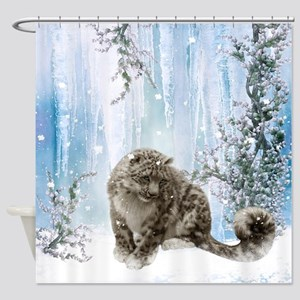 Wonderful snowleopard, winter landscape Shower Cur