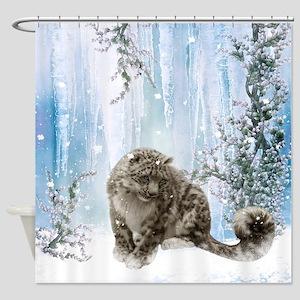 Wonderful snowleopard, winter landscape Shower Cur
