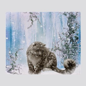 Wonderful snowleopard, winter landscape Throw Blan