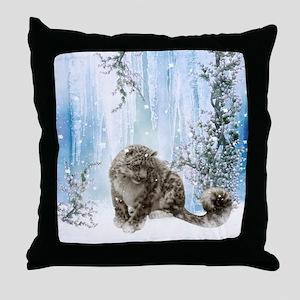 Wonderful snowleopard, winter landscape Throw Pill