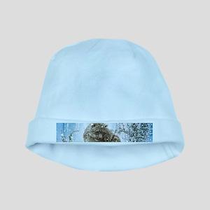Wonderful snowleopard, winter landscape Baby Hat