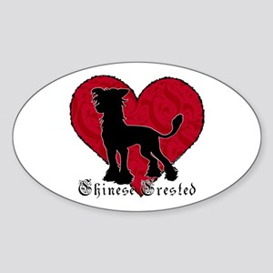 Chinese Crested Heart Oval Sticker
