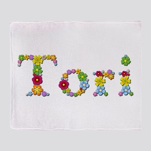 Tori Bright Flowers Throw Blanket