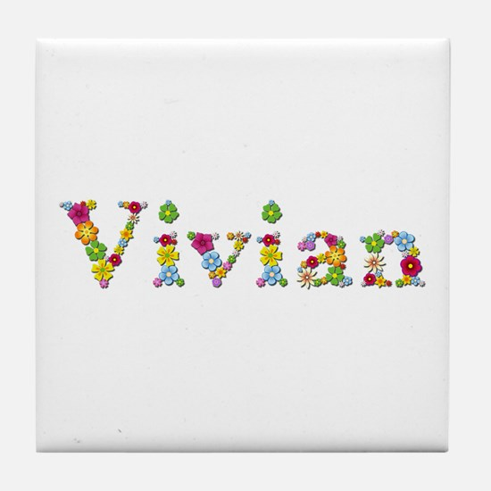Vivian Bright Flowers Tile Coaster
