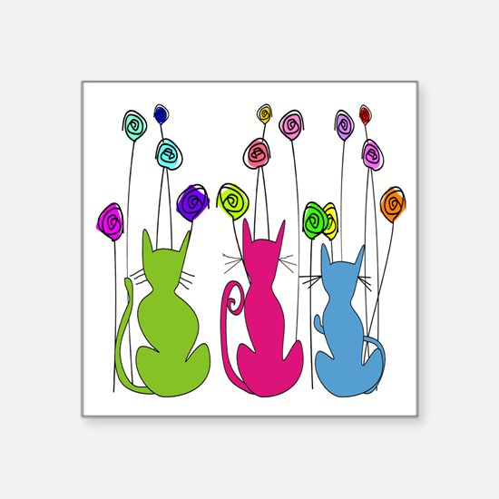 """Whimsical Cats and Flowers  Square Sticker 3"""" x 3"""""""
