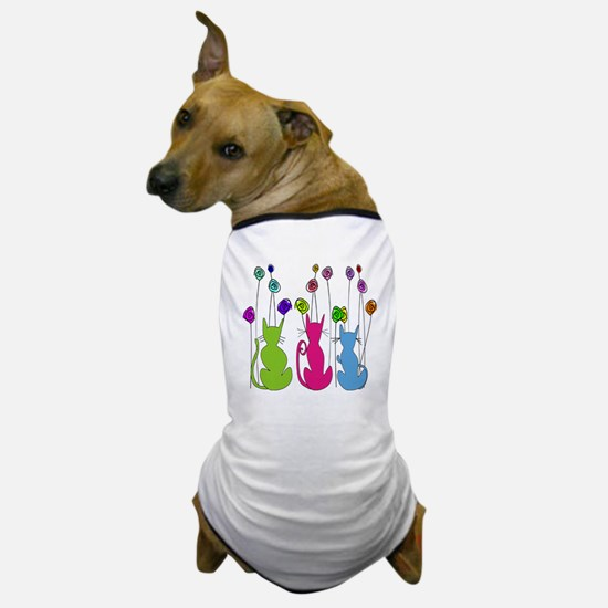 Whimsical Cats and Flowers Duvet Dog T-Shirt