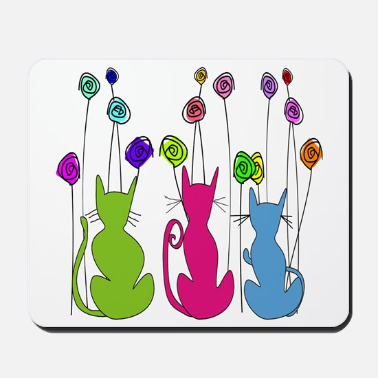 Whimsical Cats and Flowers Duvet Mousepad