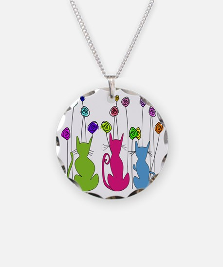 Whimsical Cats and Flowers D Necklace