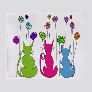 Whimsical Cats and Flowers Duvet Throw Blanket