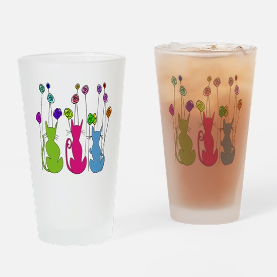 Whimsical Cats and Flowers Duvet Drinking Glass