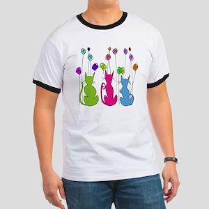 Whimsical Cats and Flowers Duvet Ringer T