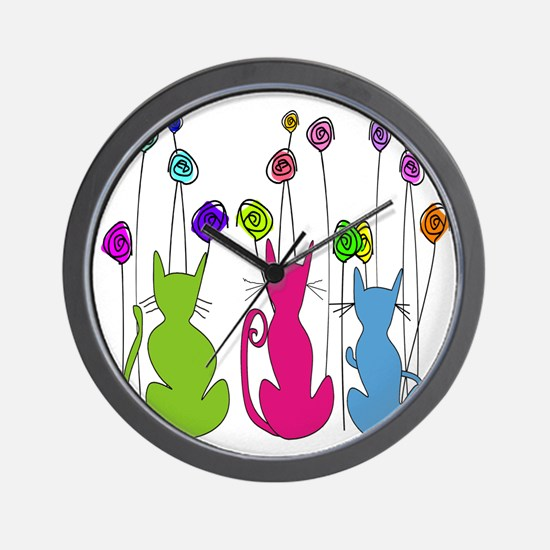 Whimsical Cats and Flowers Duvet Wall Clock