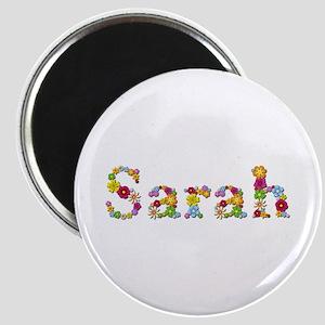 Sarah Bright Flowers Round Magnet