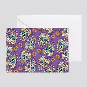 Sugar Skull Halloween Purple Greeting Card