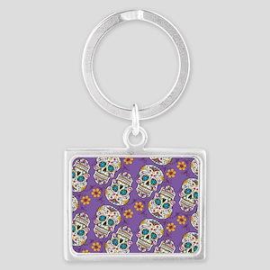 Sugar Skull Halloween Purple Landscape Keychain