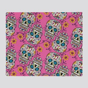 Sugar Skull Halloween Pink Throw Blanket