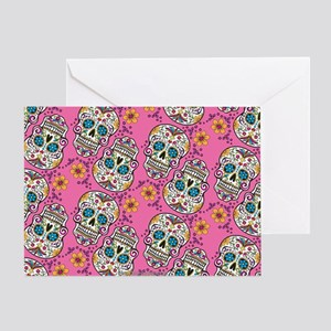 Sugar Skull Halloween Pink Greeting Card