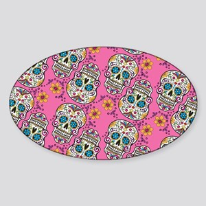 Sugar Skull Halloween Pink Sticker (Oval)