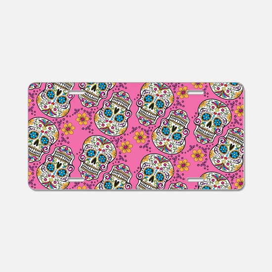 Sugar Skull Halloween Pink Aluminum License Plate