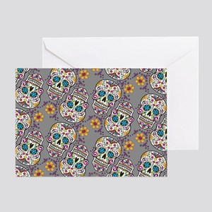 Sugar Skull Halloween Grey Greeting Card